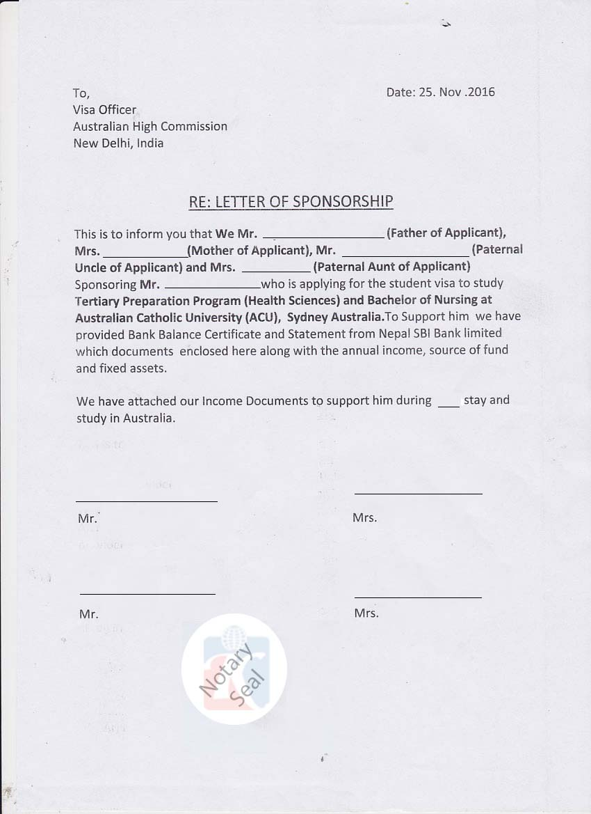 sponsorship certificate  affidavit of support