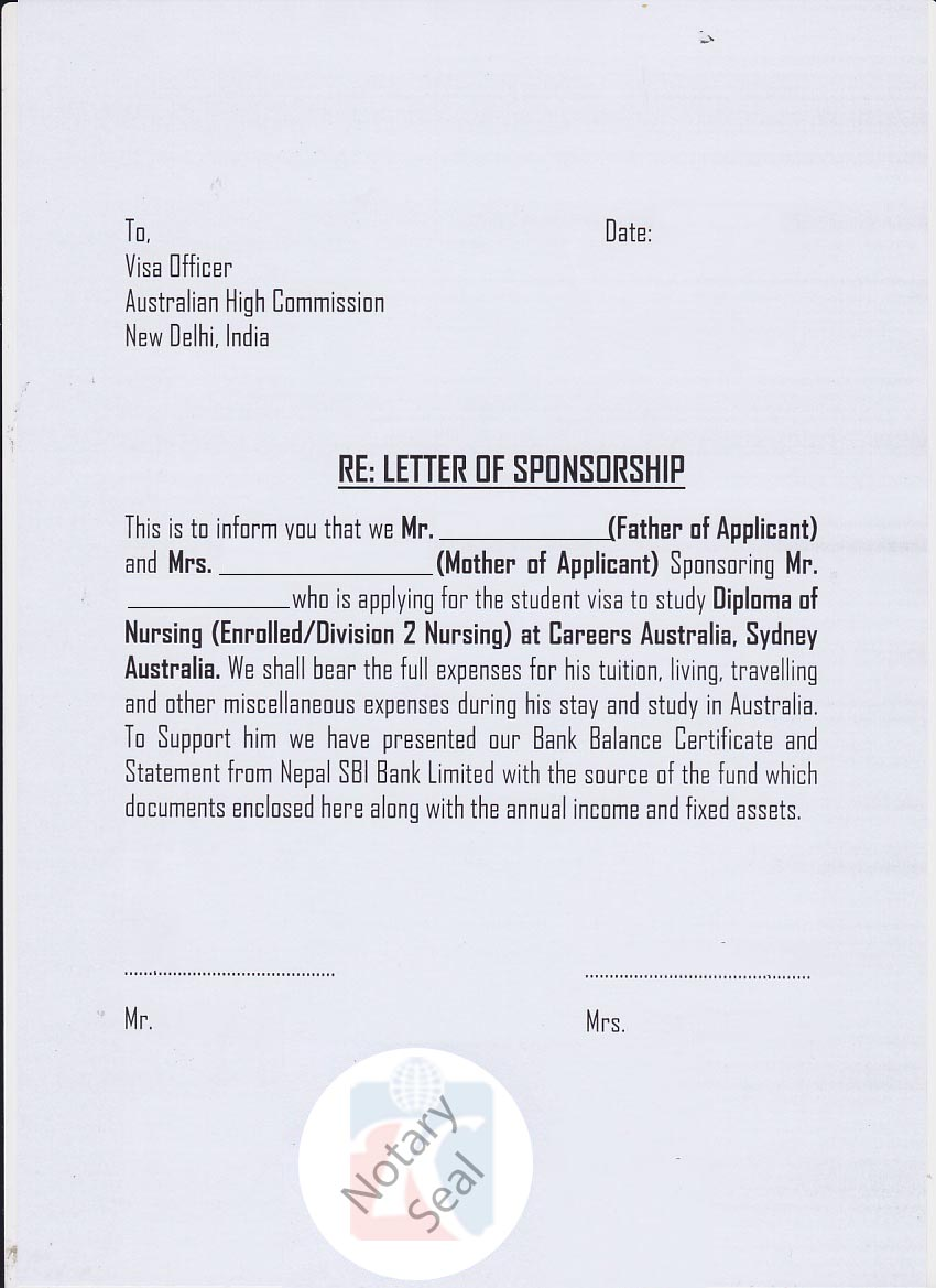 Sponsorship certificate (Affidavit of Support) | KIEC