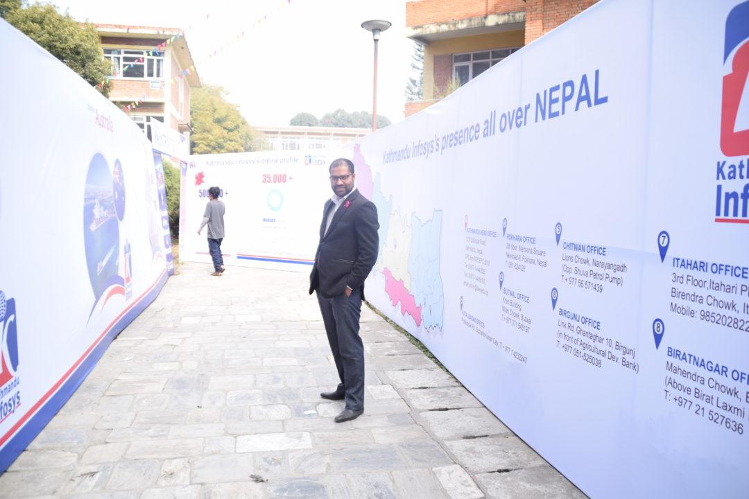 KIEC MD Rajendra Rijal Posing in Pulchowk Stall