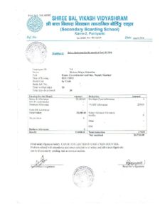 Pay Slips from Nepal Sample