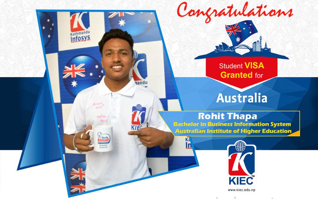 Rohit Thapa | Australia Study Visa Granted