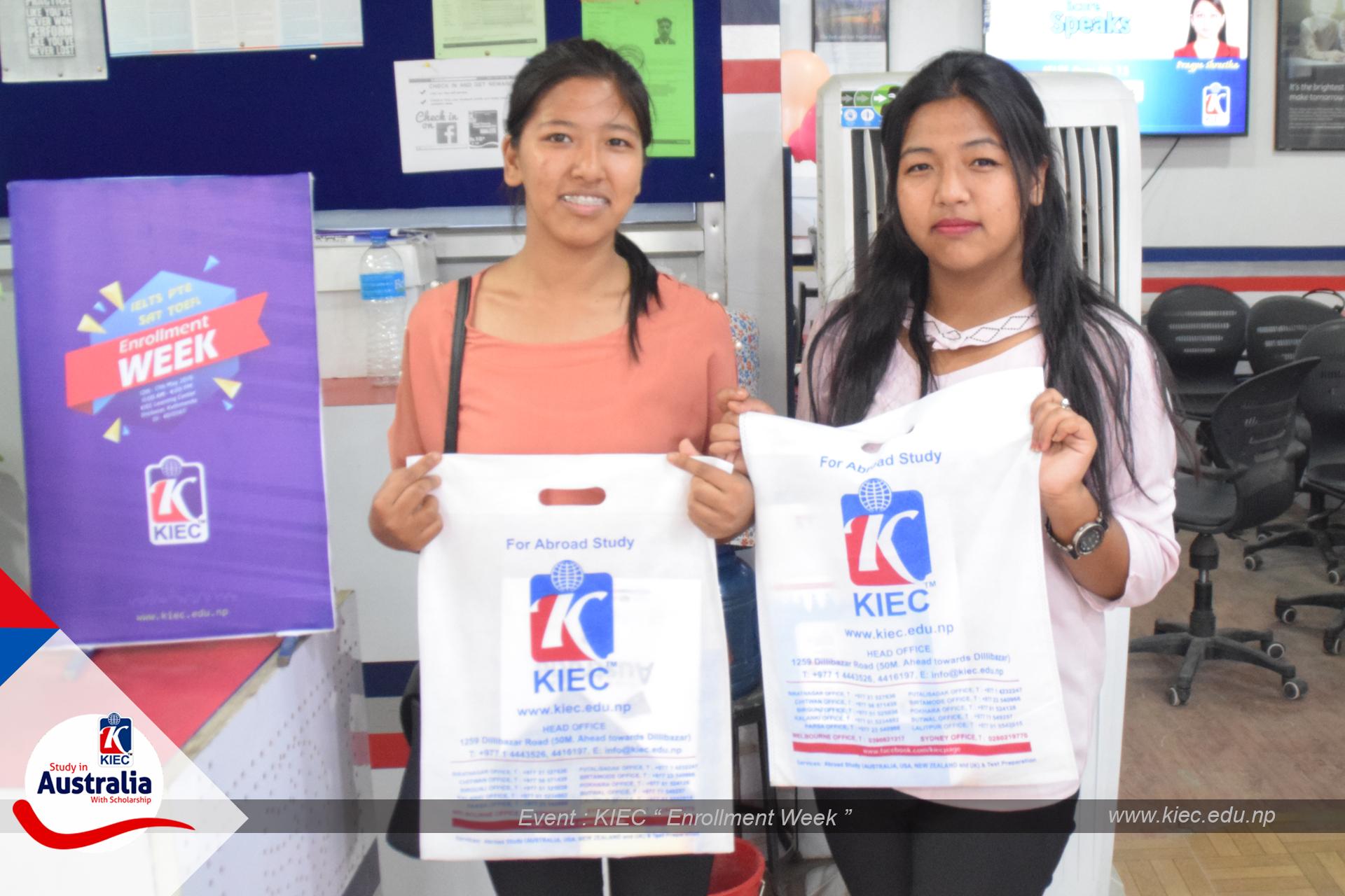 KIEC MD Rajendra Rijal distributing brochure to Students