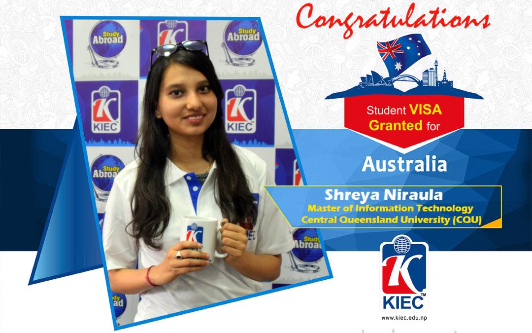 Shreya Niraula | Australian Study Visa Granted