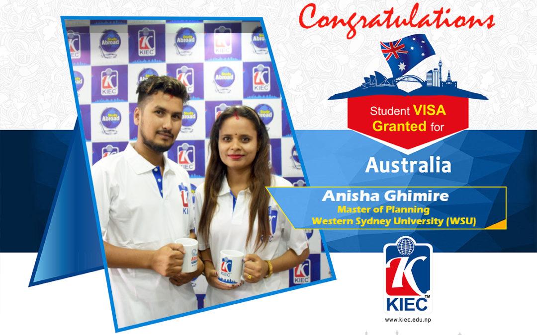 Anisha Ghimire | Australia Study Visa Granted