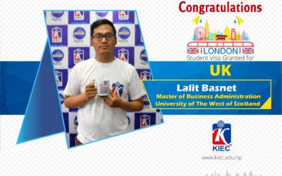 Lalit Basnet | U.K. Study Visa Granted
