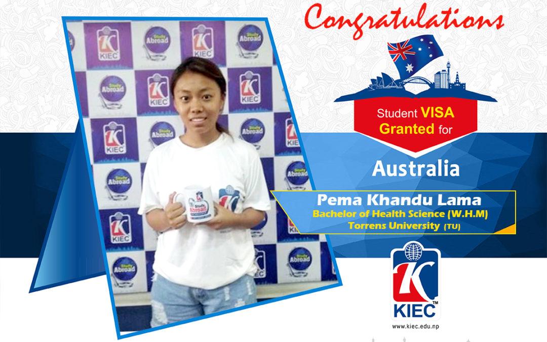 Pema Khandu Lama | Australia Study Visa Granted
