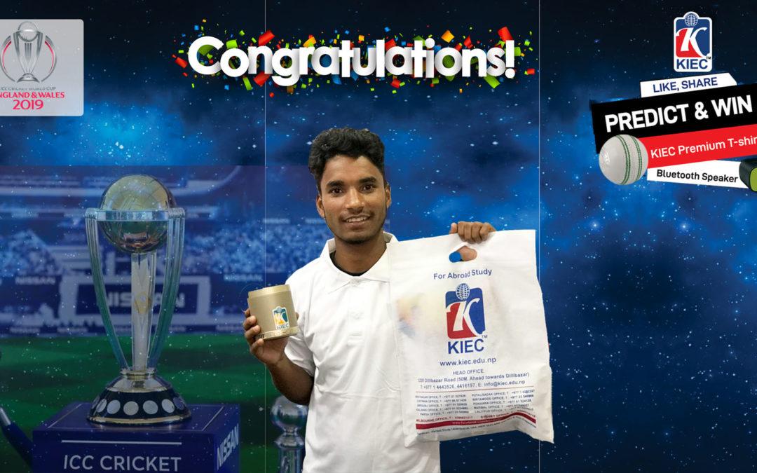 "Congratulations!!! ""ICC Cricket World Cup Predict & Win"" Winner"